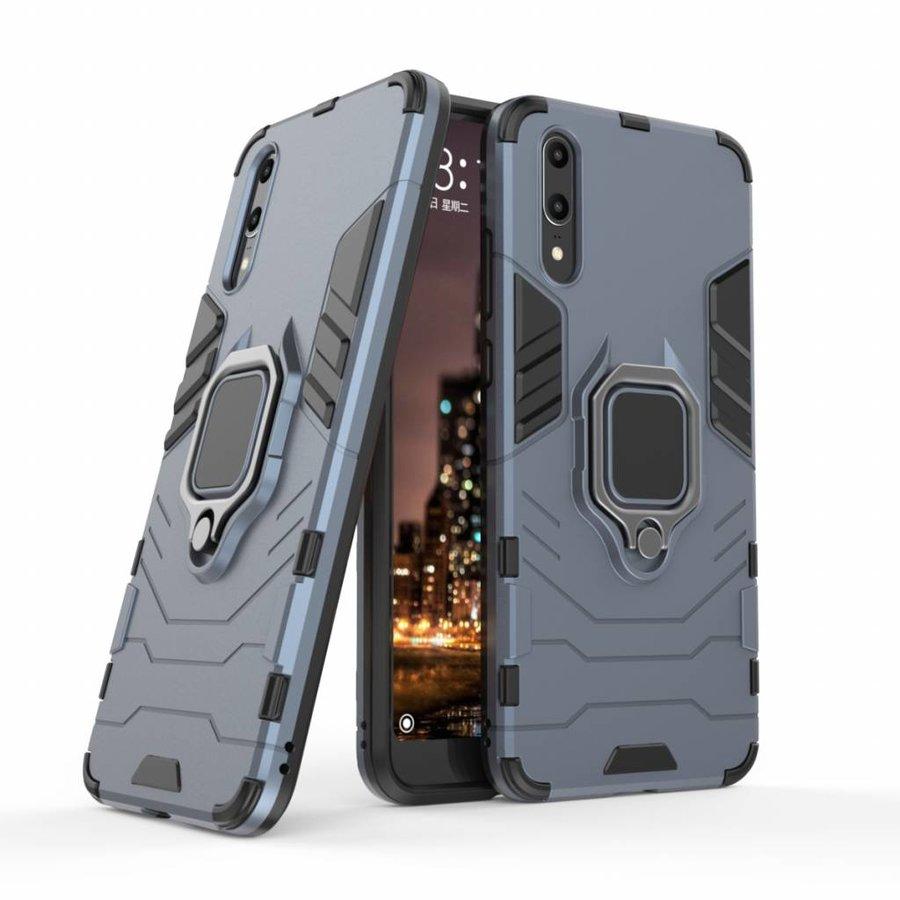 Huawei P20 Ring magnet telefoonhoesje - Blauw-3