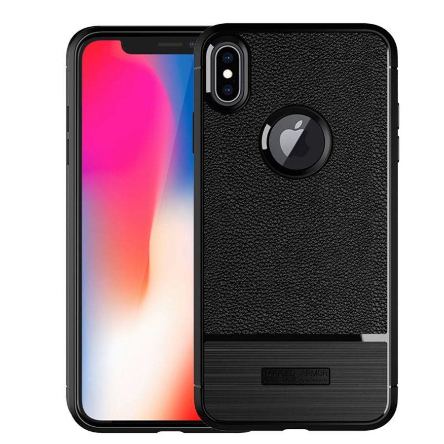 Apple Iphone X Rugged armour telefoonhoesje - zwart-2