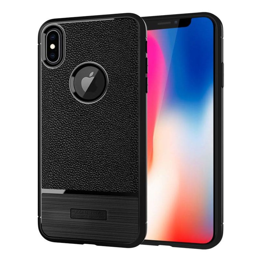 Apple Iphone X Rugged armour telefoonhoesje - zwart-1