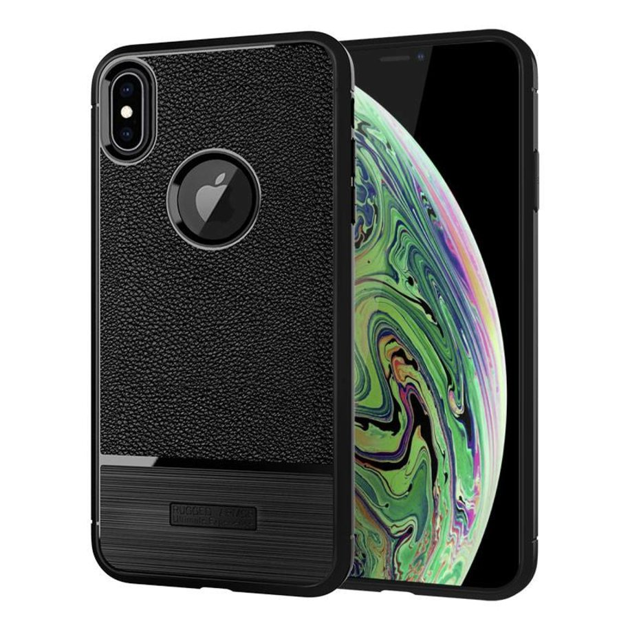 Apple Iphone XS max Rugged armour telefoonhoesje - Zwart-1