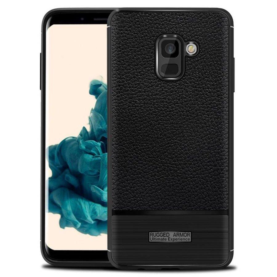 Samsung A8 Rugged armour telefoonhoesje - Zwart-1