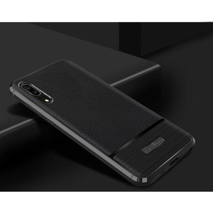 Huawei P20 Rugged armour telefoonhoesje - Zwart-2