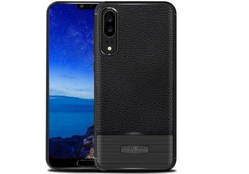 Huawei P20 Rugged armour telefoonhoesje - Zwart