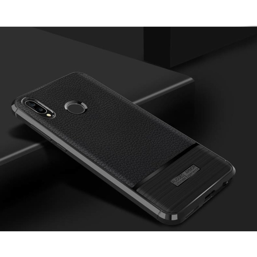 Huawei P20 Lite Rugged armour telefoonhoesje - Zwart-2
