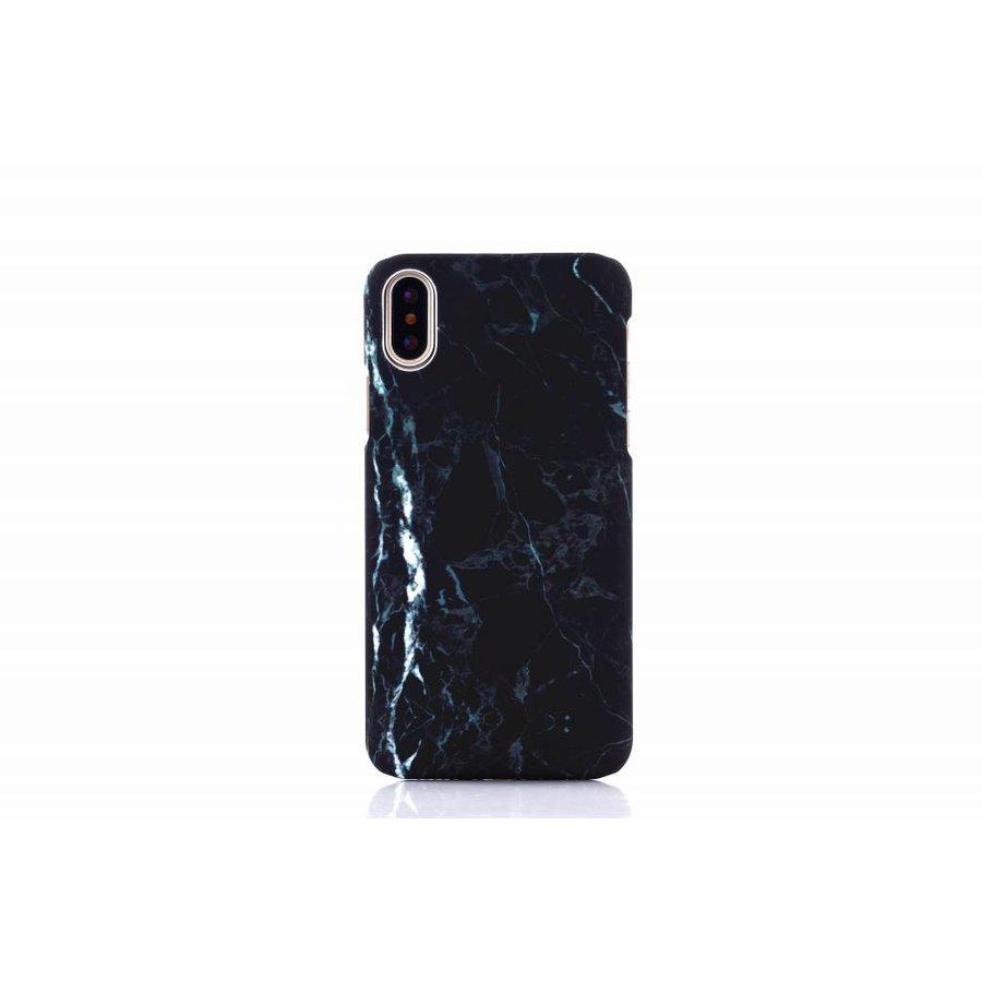 Apple Iphone X Marmer telefoonhoesje - Zwart-1