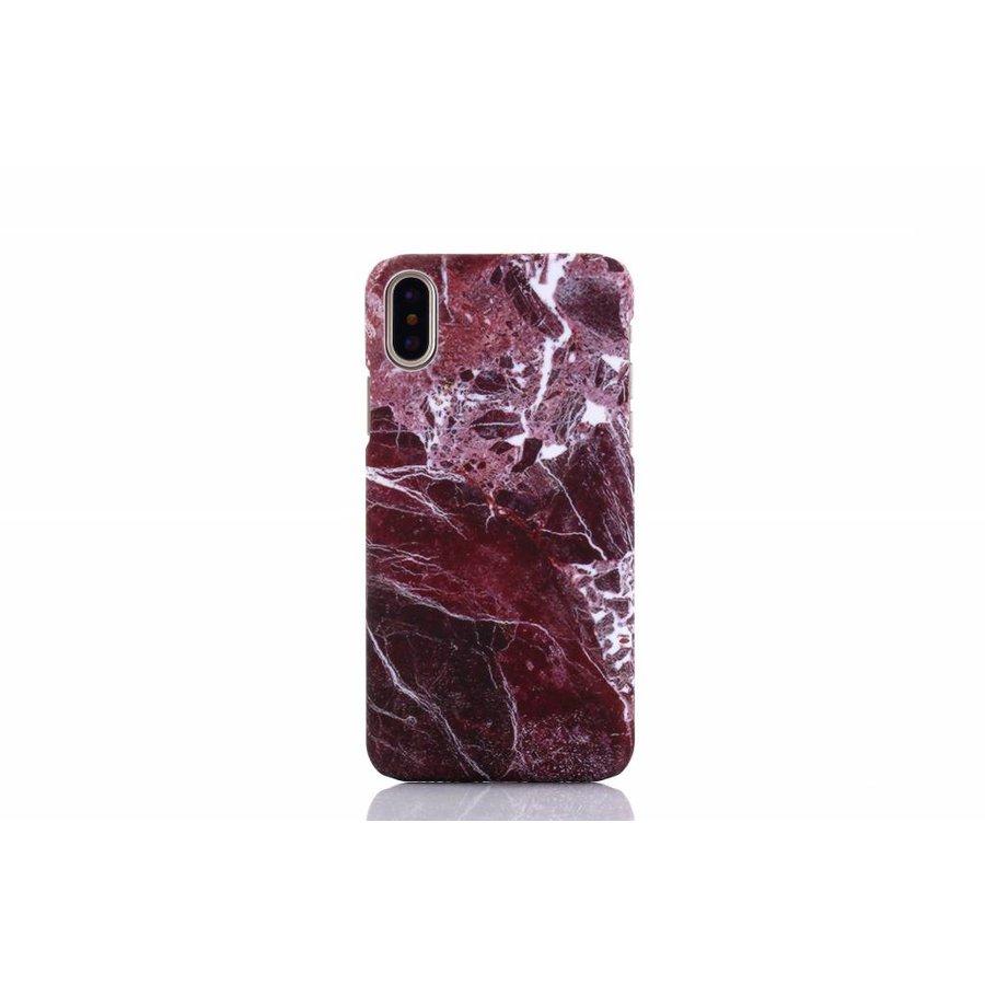 Apple Iphone X Marmer telefoonhoesje - Rood-1