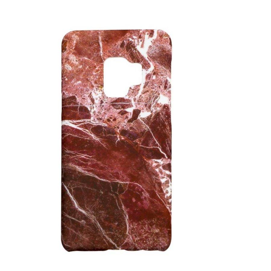 Samsung S9 Marmer telefoonhoesje - Rood-1