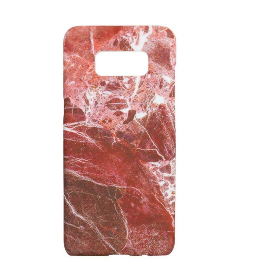 Samsung S8 Marmer telefoonhoesje - Rood-1