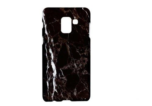 Samsung A8 Marmer telefoonhoesje - Zwart