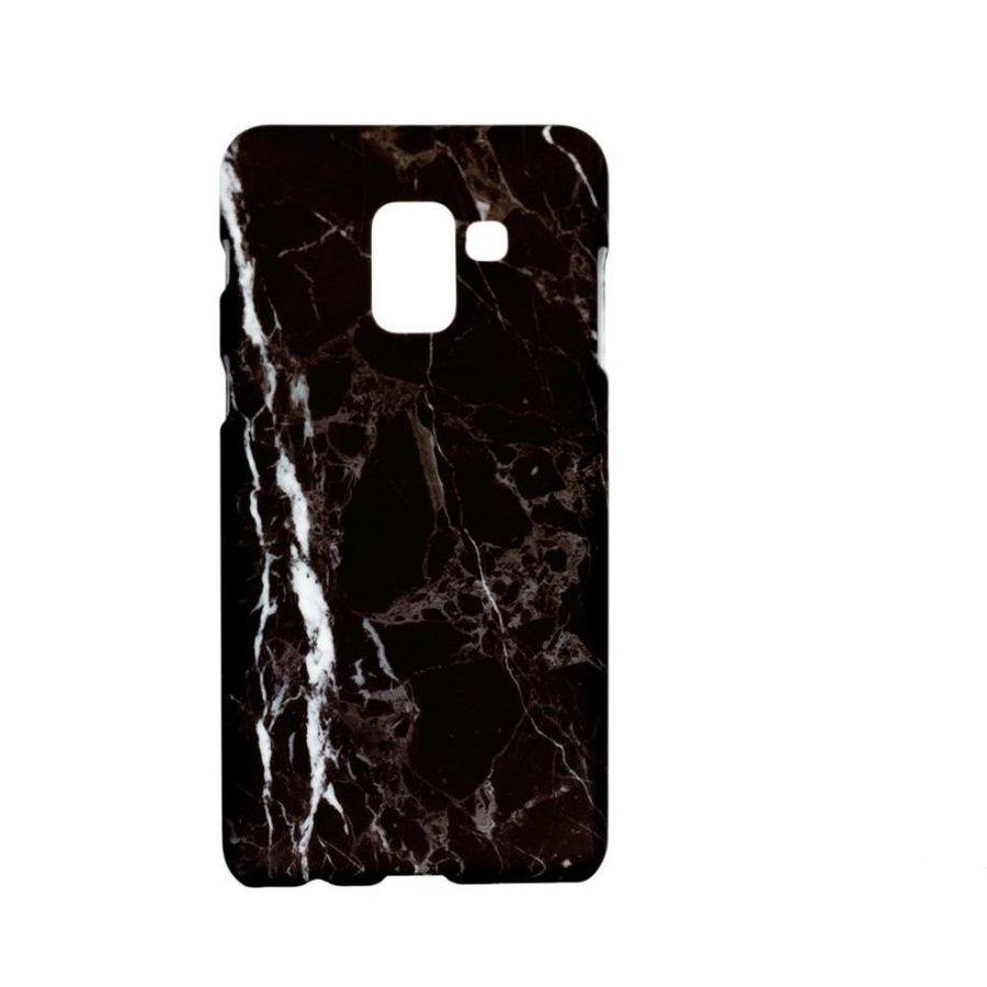 Samsung A8 Marmer telefoonhoesje - Zwart-1