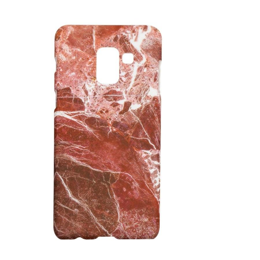 Samsung A8 Marmer telefoonhoesje - Rood-1