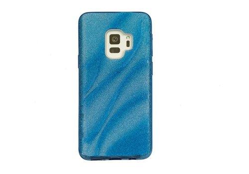 Samsung S9 Glitter wave telefoonhoesje - Blauw