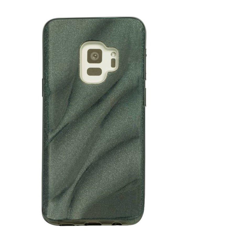 Samsung S9 Glitter wave telefoonhoesje - Zwart-1