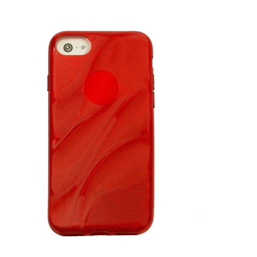 Apple Iphone 7 Glitter wave telefoonhoesje - Rood-1