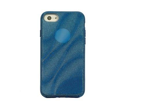 Apple Iphone 8 Glitter wave telefoonhoesje - Blauw