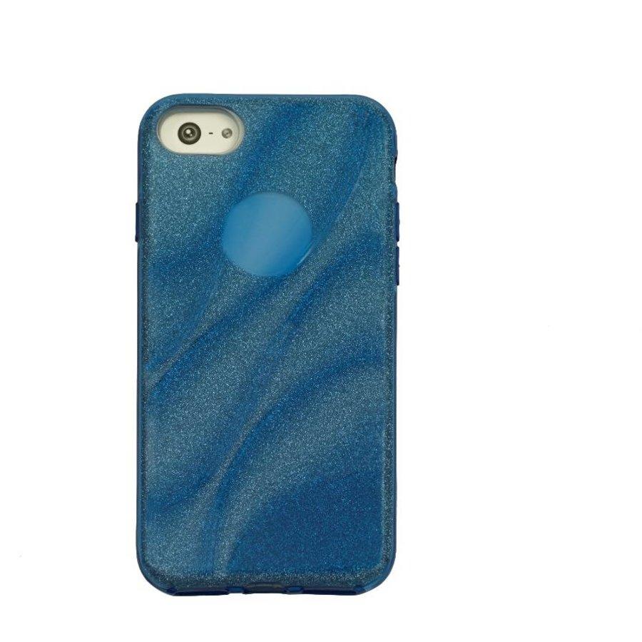 Apple Iphone 8 Glitter wave telefoonhoesje - Blauw-1