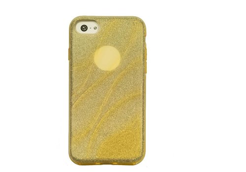 Apple Iphone 8 Glitter wave telefoonhoesje - Goud