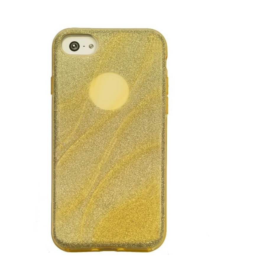 Apple Iphone 8 Glitter wave telefoonhoesje - Goud-1