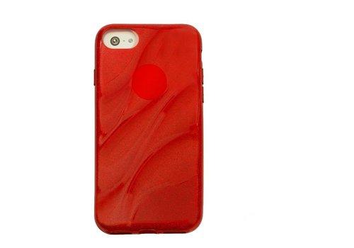 Apple Iphone 8 Glitter wave telefoonhoesje - Rood