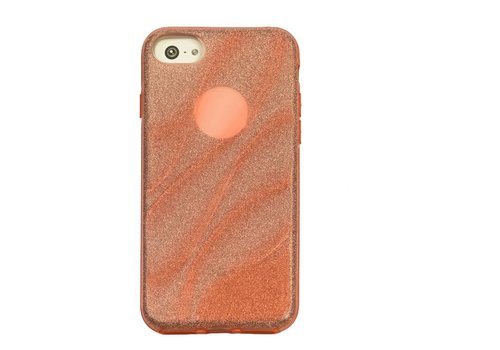 Apple Iphone 8 Glitter wave telefoonhoesje - Roze