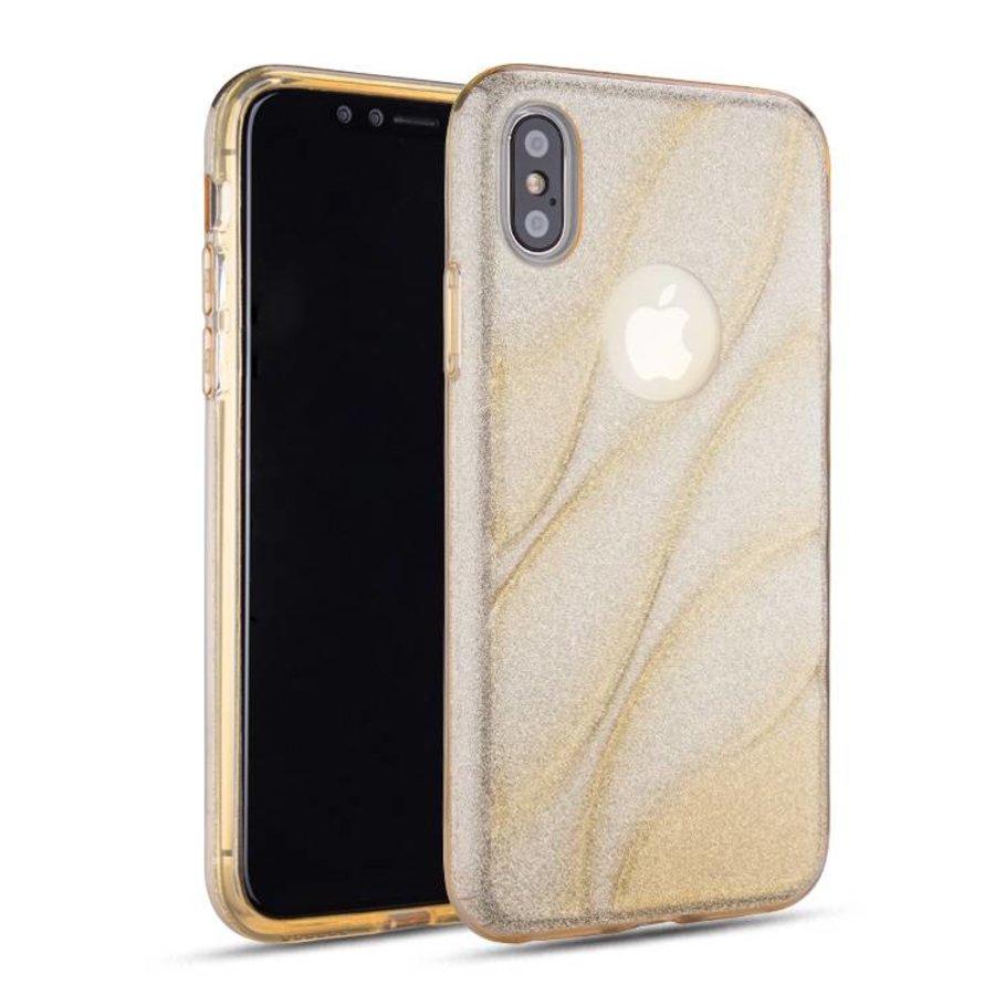 Apple Iphone X Glitter wave telefoonhoesje - Goud-1