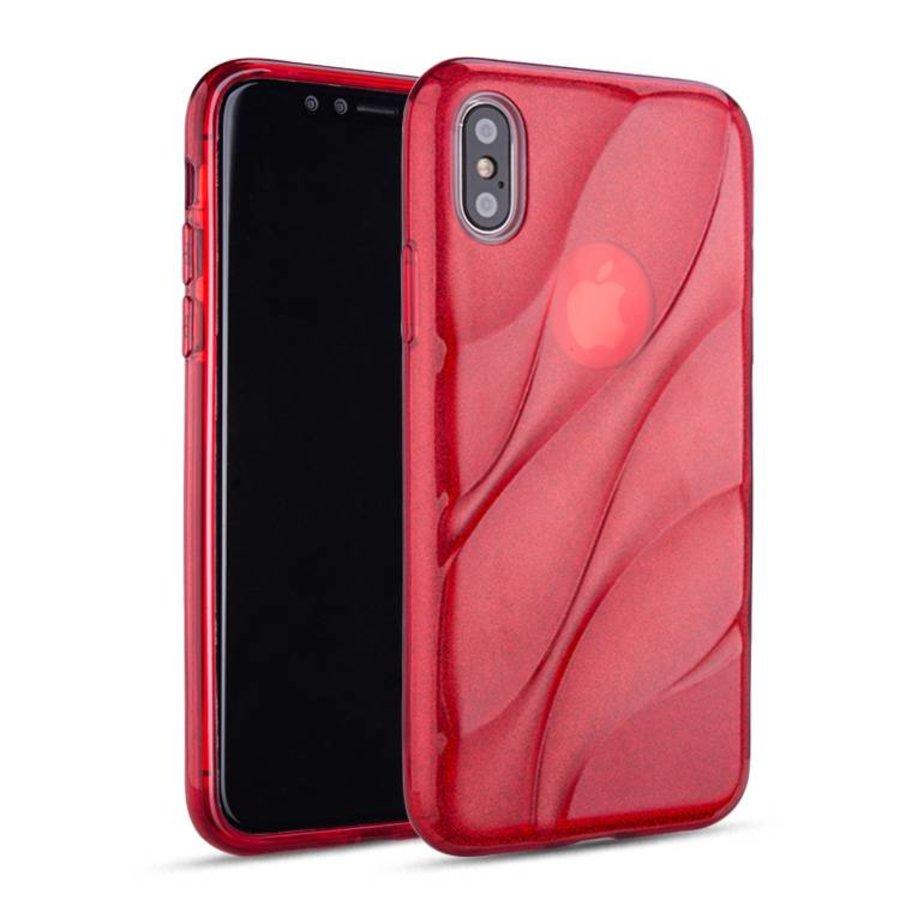 Apple Iphone X Glitter wave telefoonhoesje - Rood-1