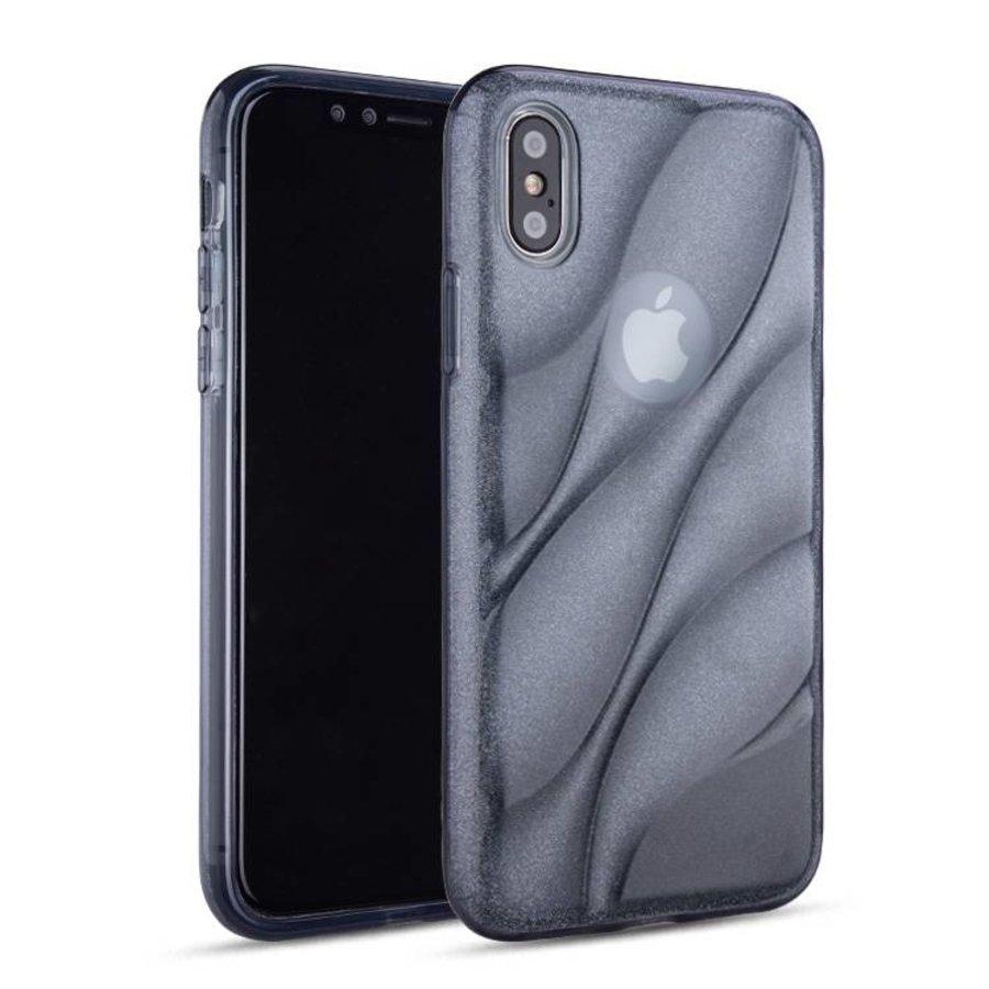 Apple Iphone X Glitter wave telefoonhoesje - Zwart-1