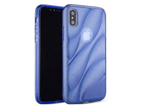 Apple Iphone XS Glitter wave telefoonhoesje - Blauw