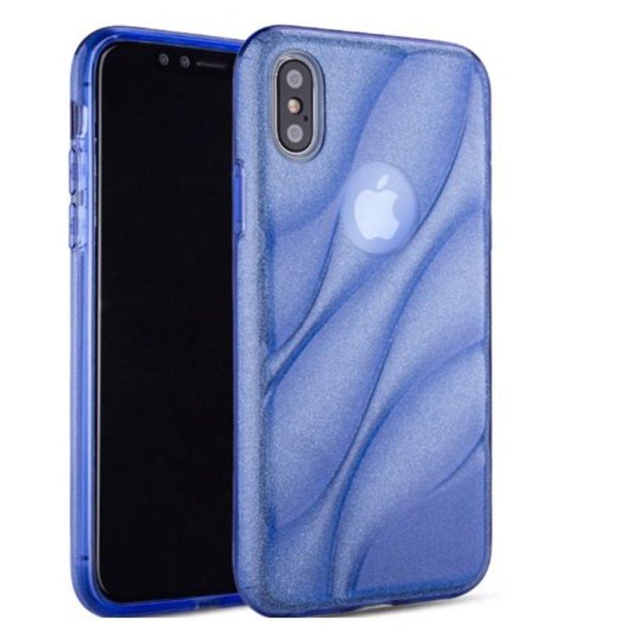 Apple Iphone XS Glitter wave telefoonhoesje - Blauw-1