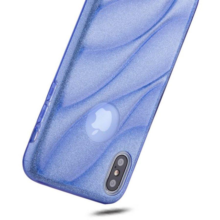 Apple Iphone XS Glitter wave telefoonhoesje - Blauw-2