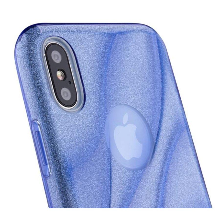 Apple Iphone XS Glitter wave telefoonhoesje - Blauw-3