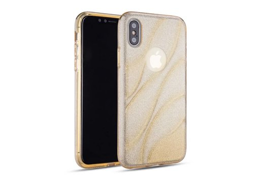 Apple Iphone XS Glitter wave telefoonhoesje - Goud