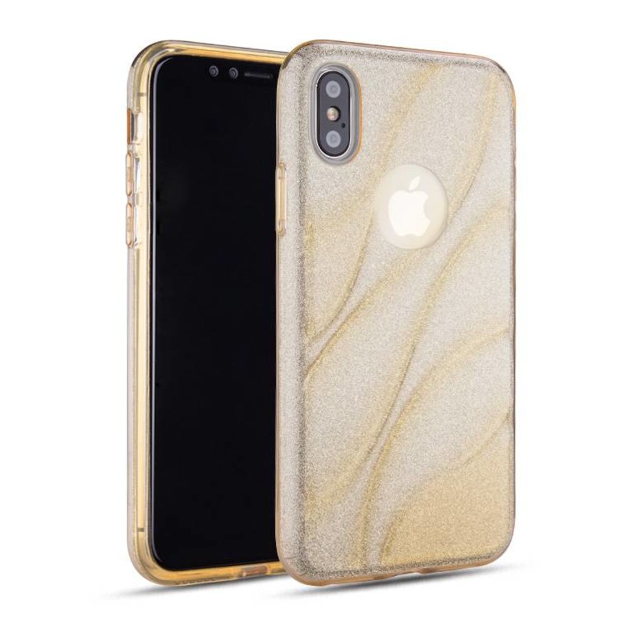 Apple Iphone XS Glitter wave telefoonhoesje - Goud-1