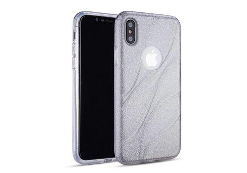 Apple Iphone XS Glitter wave telefoonhoesje - Zilver