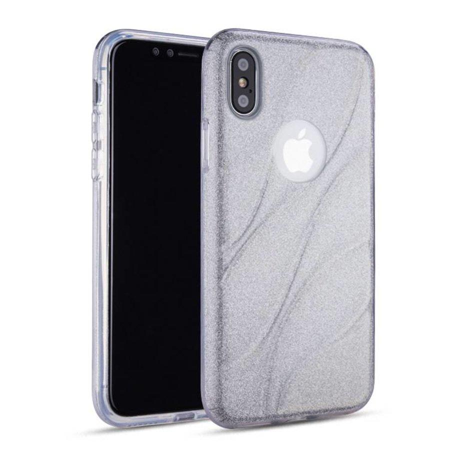 Apple Iphone XS Glitter wave telefoonhoesje - Zilver-1