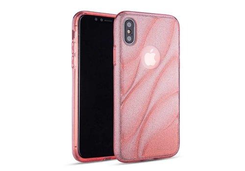 Apple Iphone XS Glitter wave telefoonhoesje - Roze
