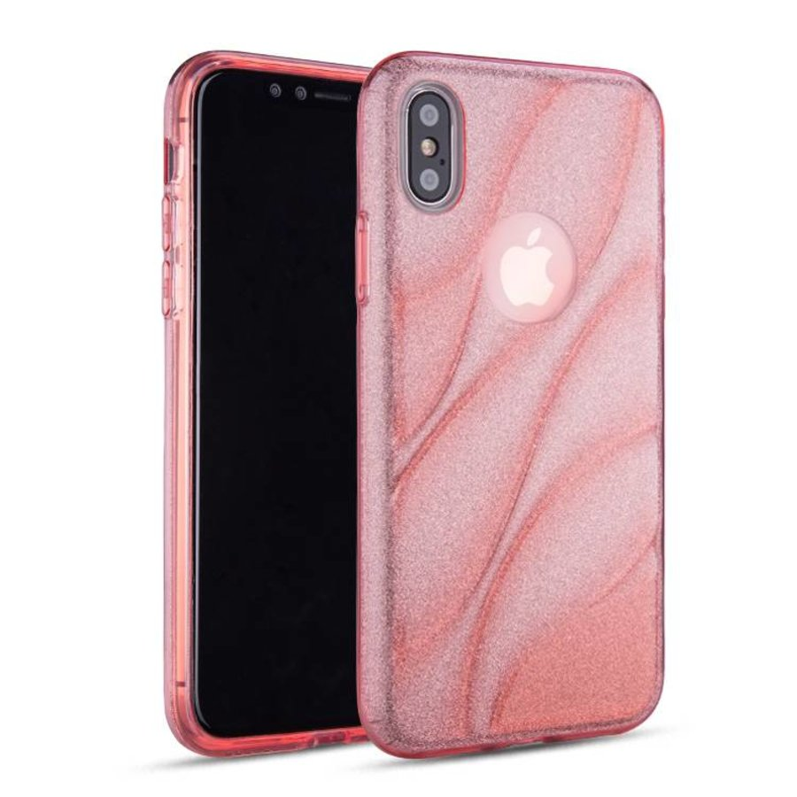 Apple Iphone XS Glitter wave telefoonhoesje - Roze-1