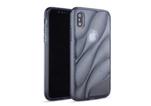 Apple Iphone XS Glitter wave telefoonhoesje - Zwart