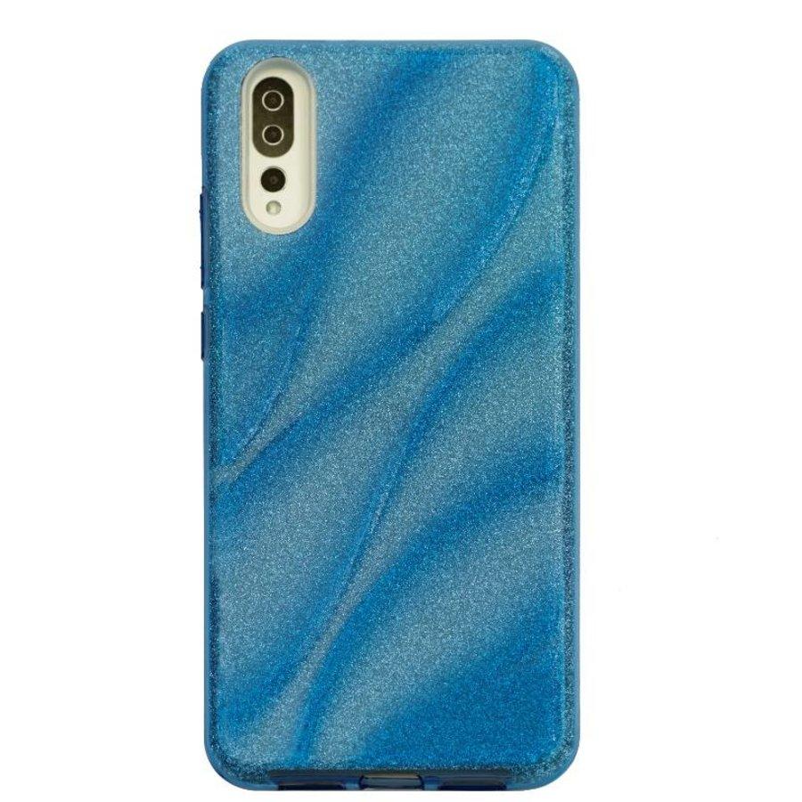 Huawei P20 Glitter Wave telefoonhoesje - Blauw-1