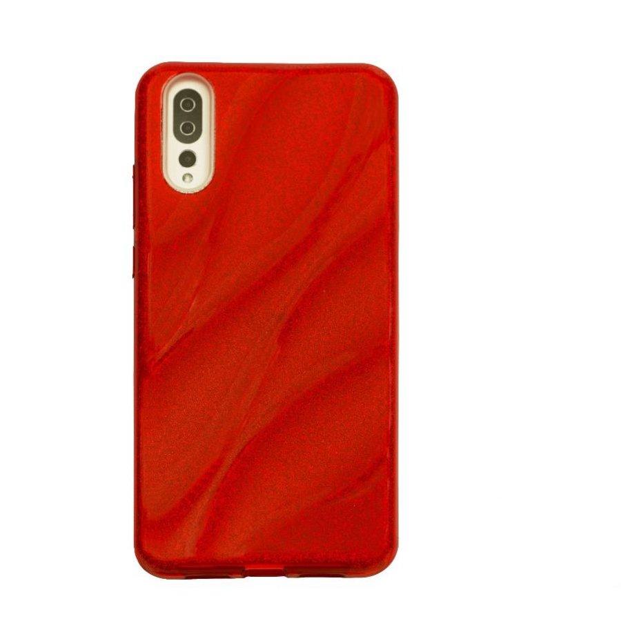 Huawei P20 Glitter wave telefoonhoesje - Rood-1