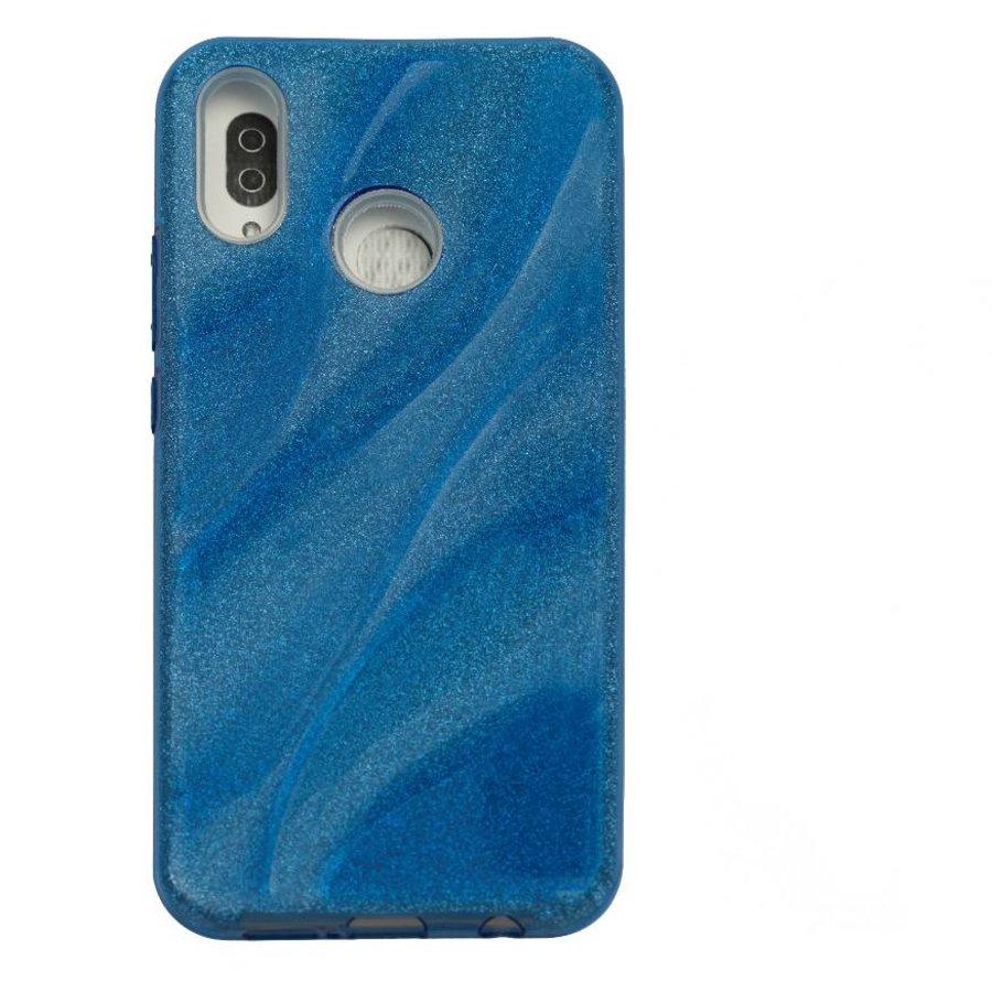 Huawei P20 Lite Glitter wave telefoonhoesje - Blauw-1
