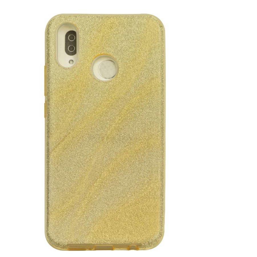 Huawei P20 Lite Glitter wave telefoonhoesje - Goud-1