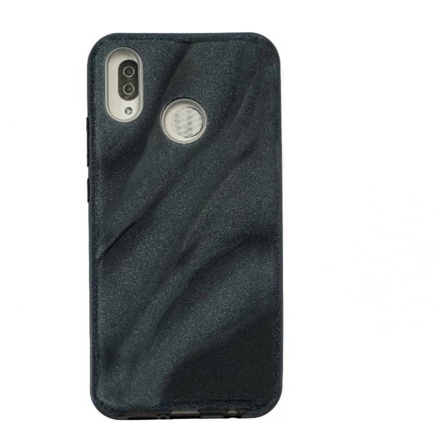 Huawei P20 Lite Glitter wave telefoonhoesje - Zwart-1