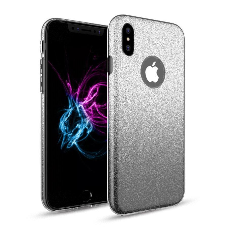 Apple Iphone X Semi Glitter telefoonhoesje - Zwart-1