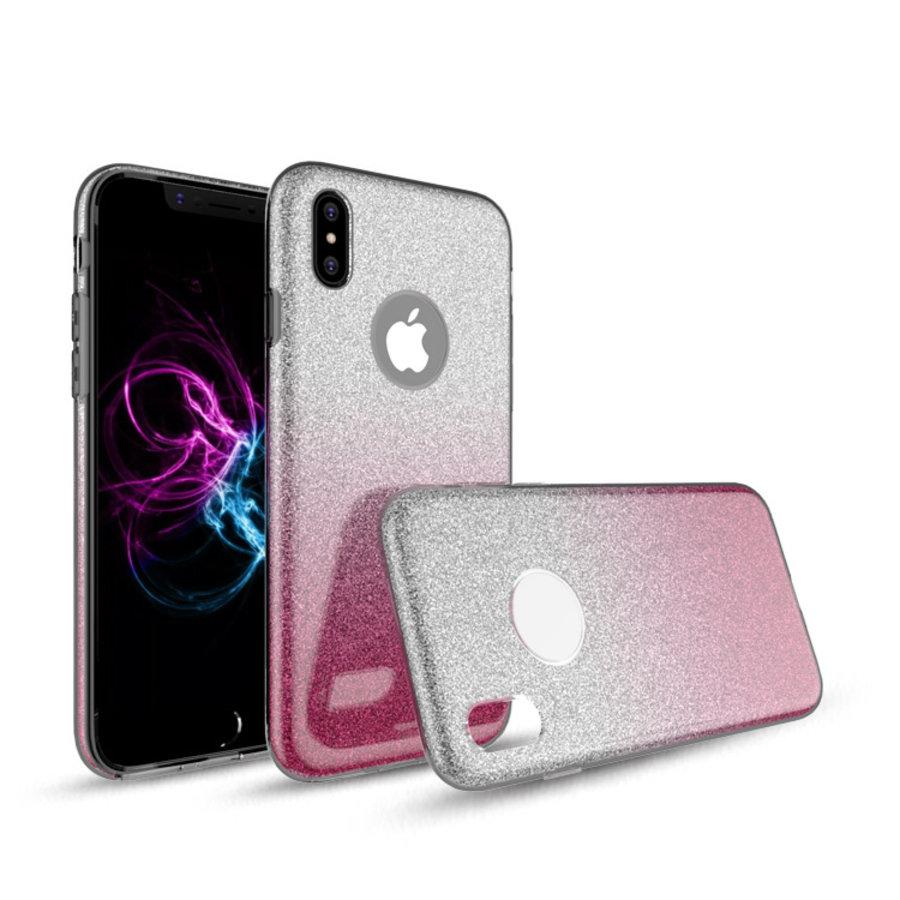 Apple Iphone X Semi Glitter telefoonhoesje - Roze-2