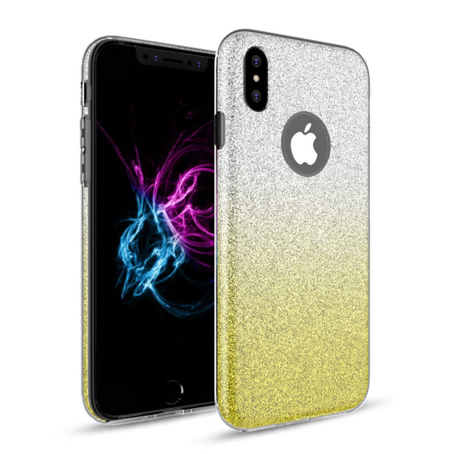 Apple Iphone X Semi Glitter telefoonhoesje - Geel-1