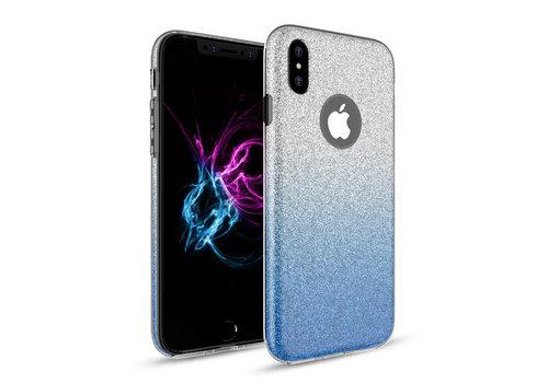 Apple Iphone XS Semi Glitter telefoonhoesje - Blauw