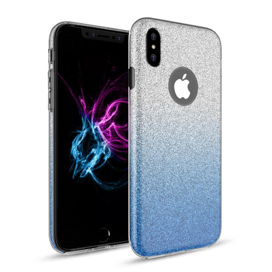 Apple Iphone XS Semi Glitter telefoonhoesje - Blauw-1