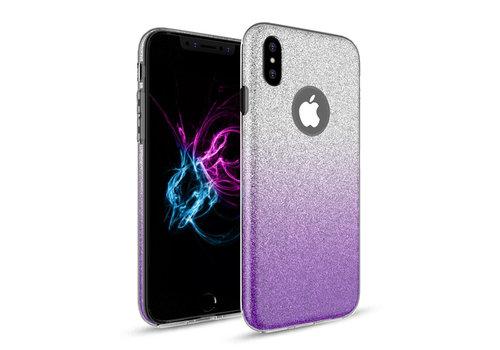 Apple Iphone XS Semi Glitter telefoonhoesje - Paars