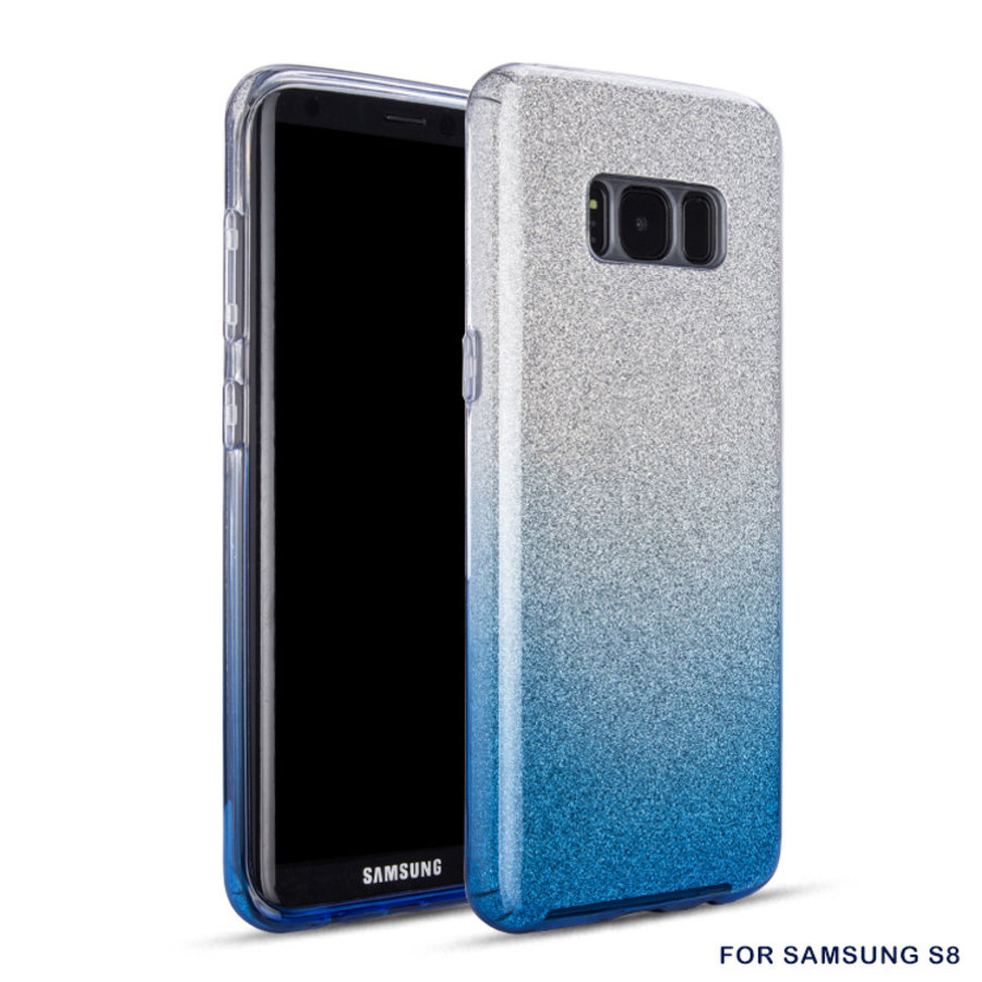 Samsung S8 Semi Glitter telefoonhoesje - Blauw-1